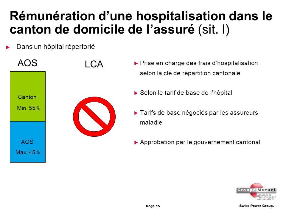 Rémunération d'une hospitalisation dans le canton de domicile de l'assuré (sit. I)