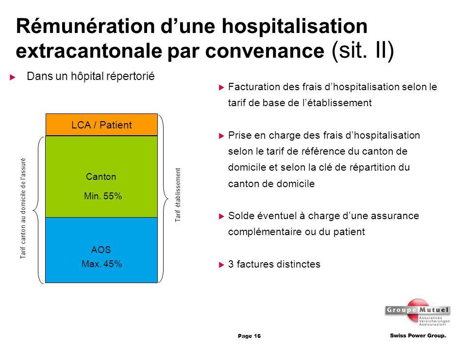 Rémunération d'une hospitalisation extracantonale par convenance (sit