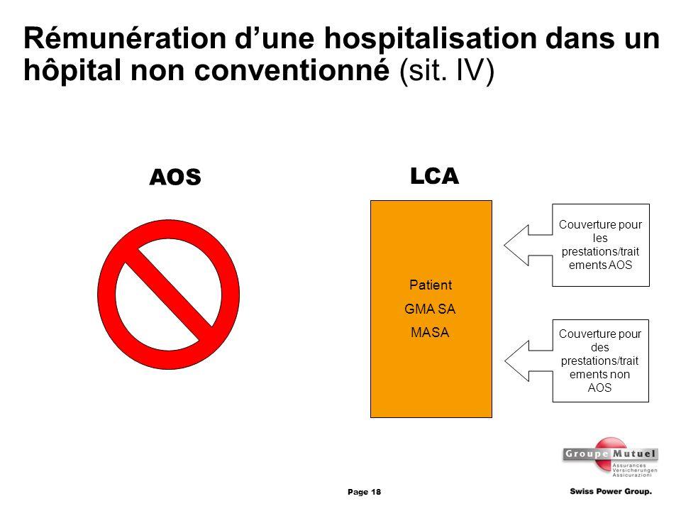Rémunération d'une hospitalisation dans un hôpital non conventionné (sit. IV)