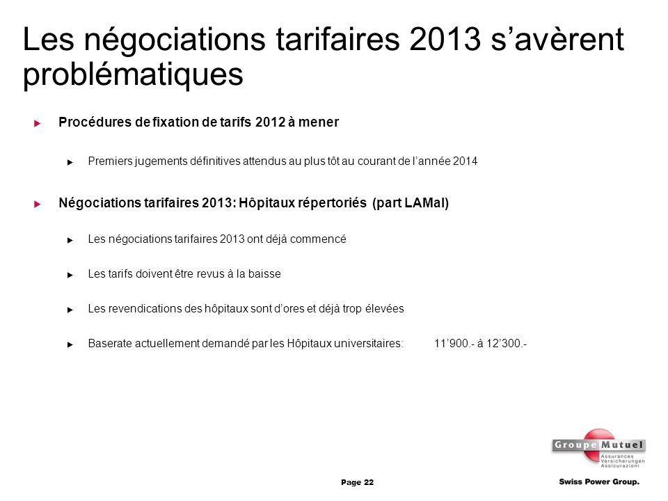 Les négociations tarifaires 2013 s'avèrent problématiques
