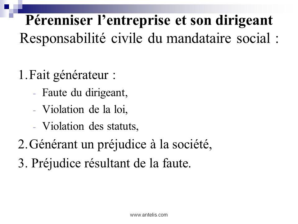 Pérenniser l'entreprise et son dirigeant Responsabilité civile du mandataire social :