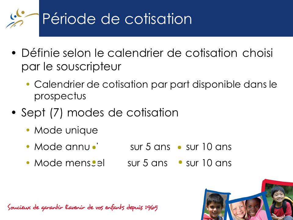 Période de cotisation Définie selon le calendrier de cotisation choisi par le souscripteur.