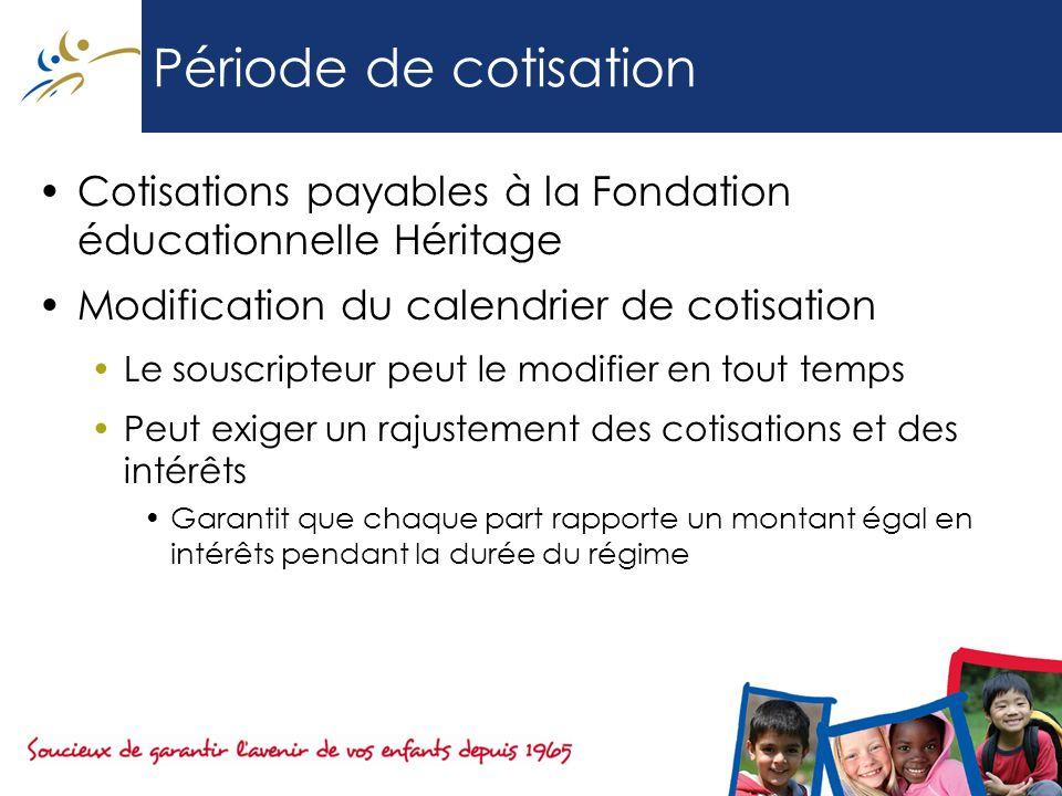 Période de cotisation Cotisations payables à la Fondation éducationnelle Héritage. Modification du calendrier de cotisation.
