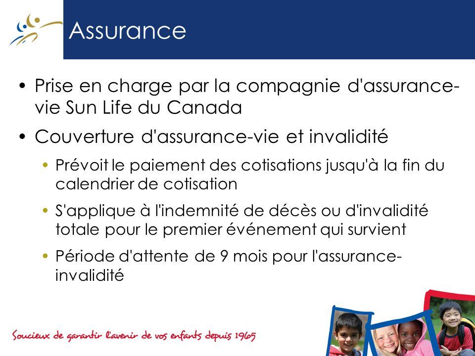 Assurance Prise en charge par la compagnie d assurance-vie Sun Life du Canada. Couverture d assurance-vie et invalidité.