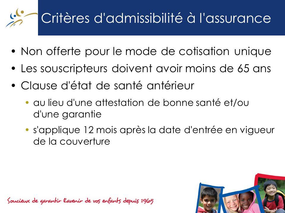 Critères d admissibilité à l assurance