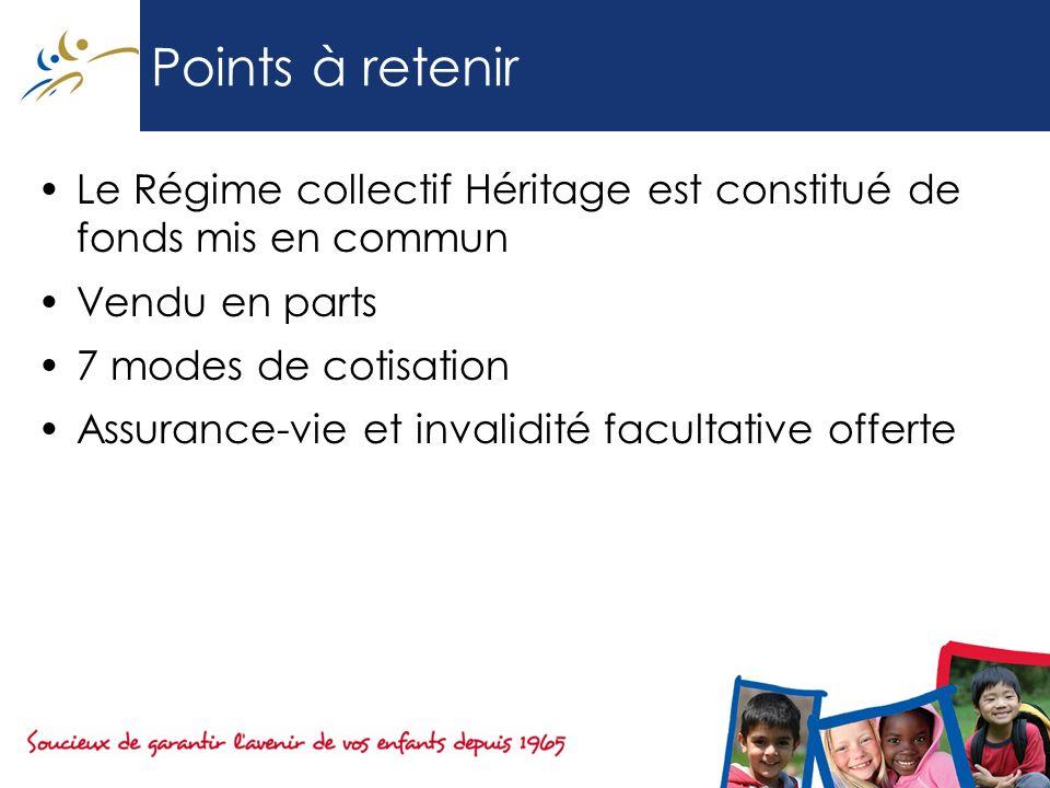 Points à retenir Le Régime collectif Héritage est constitué de fonds mis en commun. Vendu en parts.