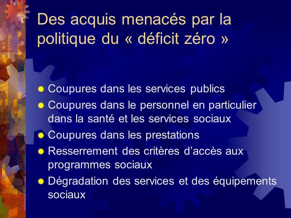 Des acquis menacés par la politique du « déficit zéro »