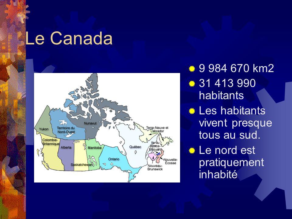 Le Canada 9 984 670 km2. 31 413 990 habitants. Les habitants vivent presque tous au sud.