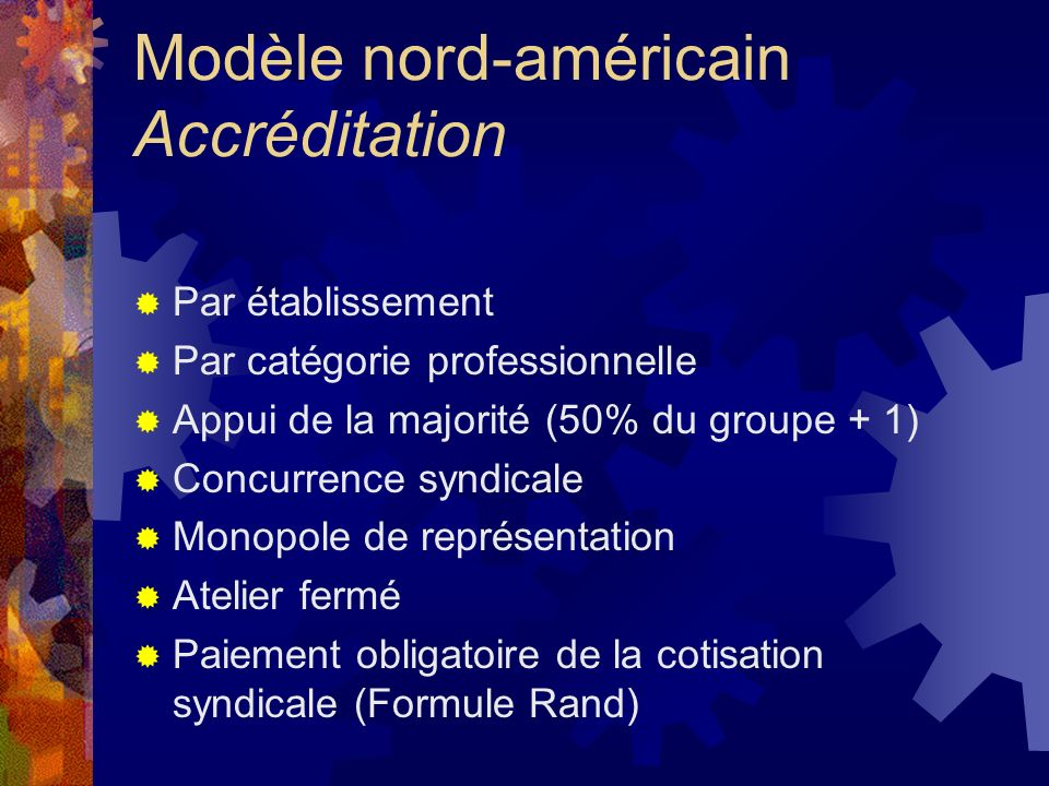 Modèle nord-américain Accréditation