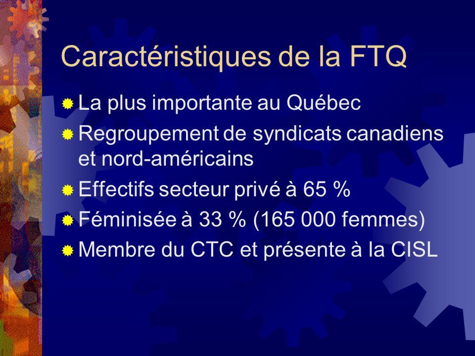 Caractéristiques de la FTQ