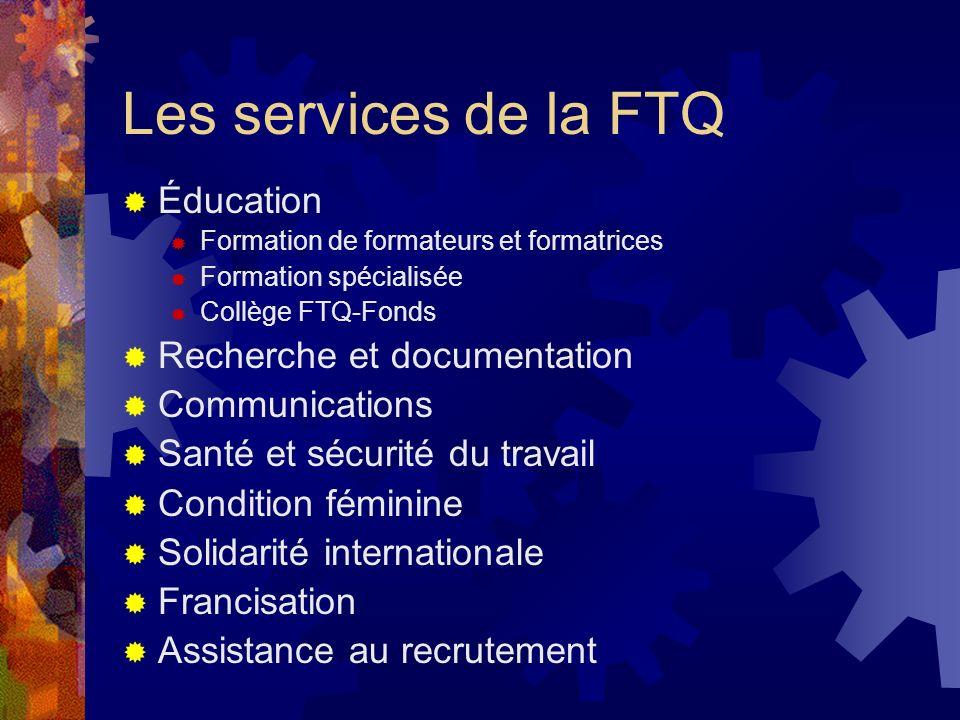 Les services de la FTQ Éducation Recherche et documentation