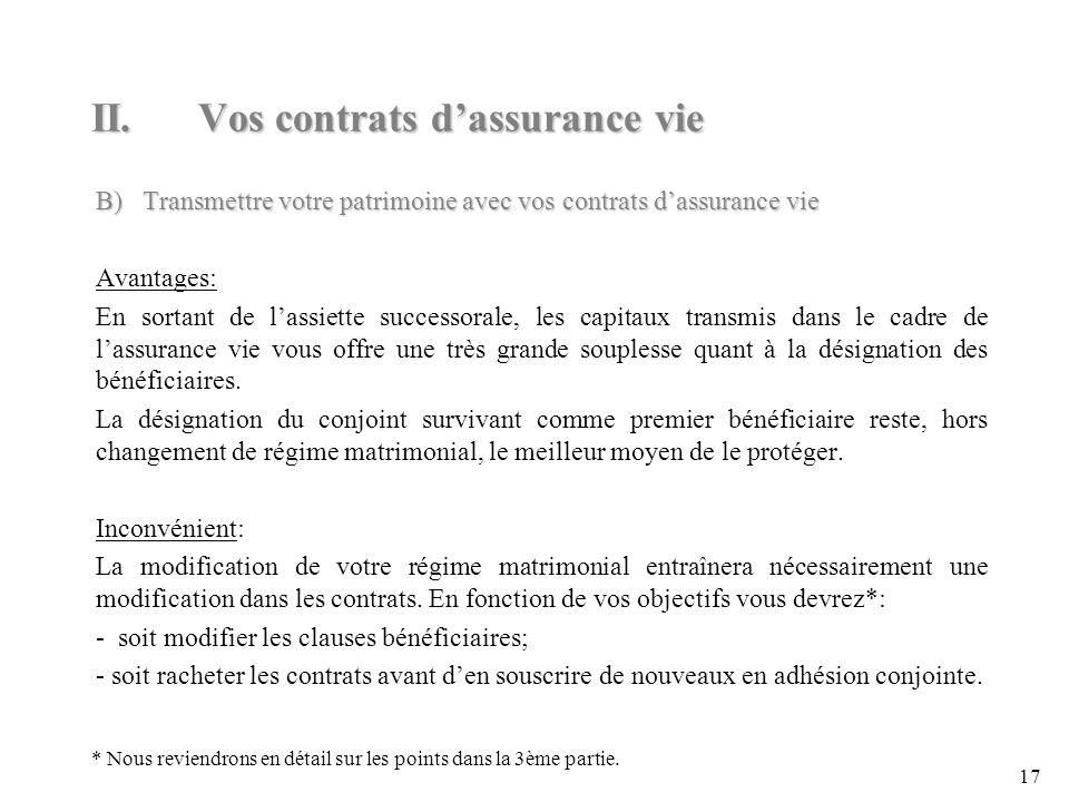 II. Vos contrats d'assurance vie