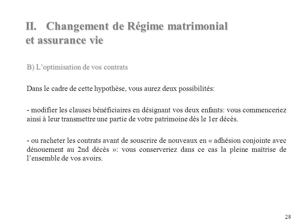 II. Changement de Régime matrimonial et assurance vie
