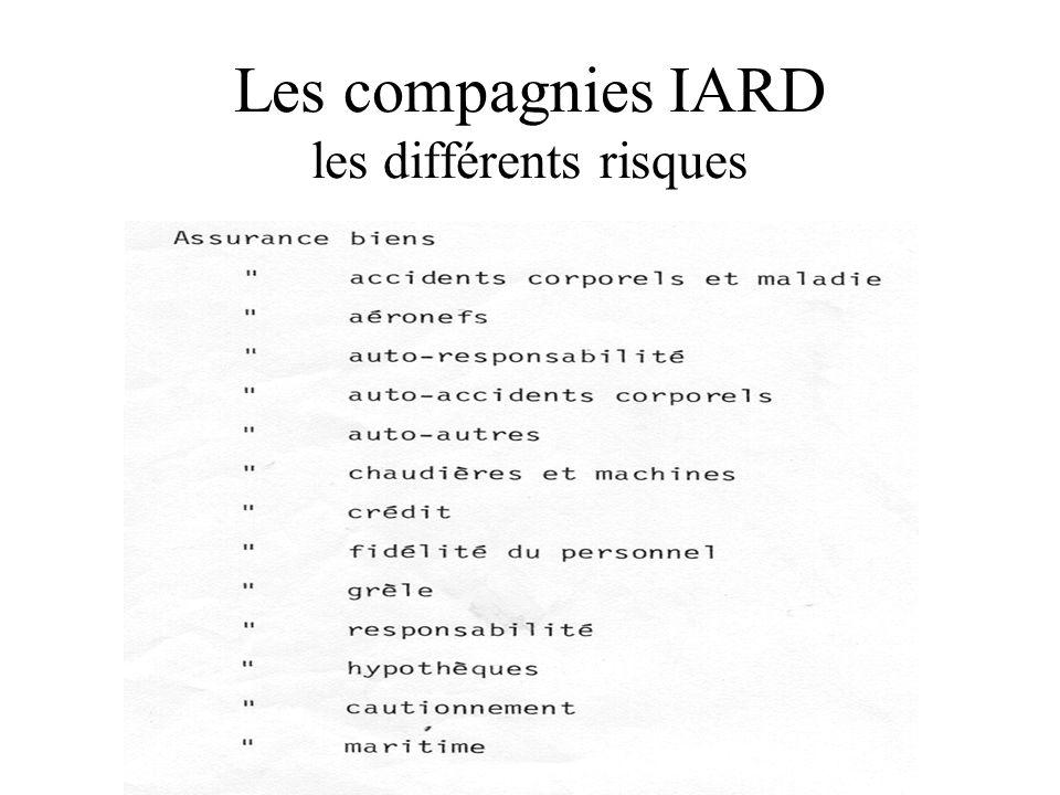 Les compagnies IARD les différents risques