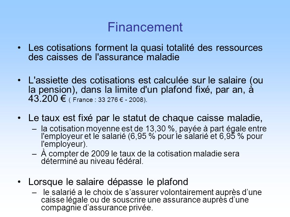 Financement Les cotisations forment la quasi totalité des ressources des caisses de l assurance maladie.