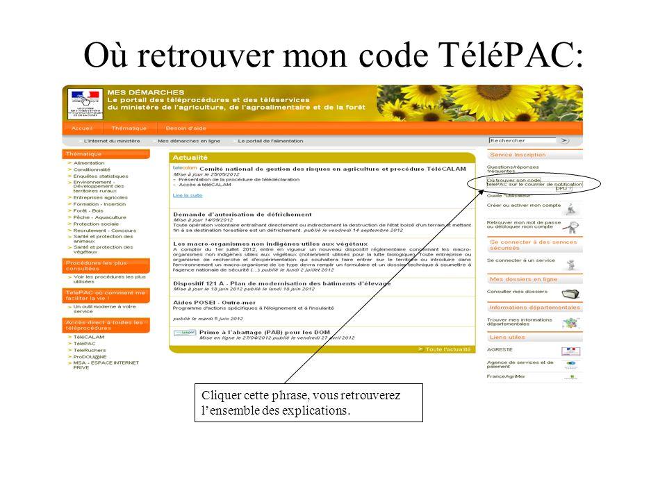Où retrouver mon code TéléPAC: