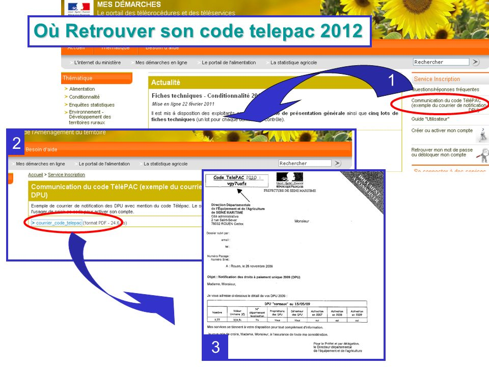 Où Retrouver son code telepac 2012