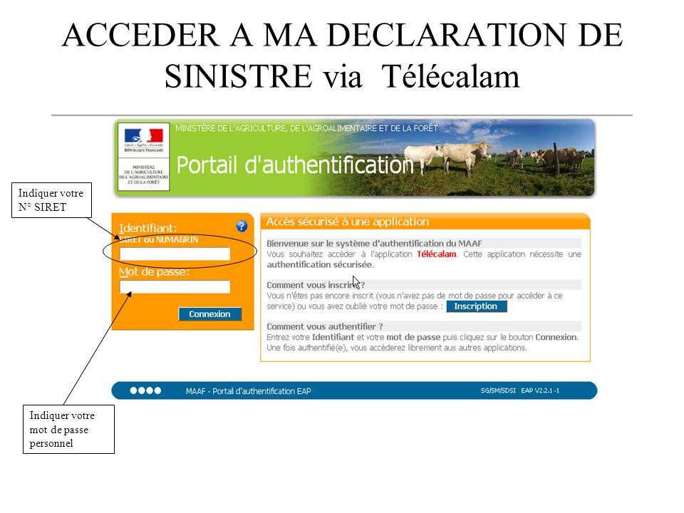 ACCEDER A MA DECLARATION DE SINISTRE via Télécalam