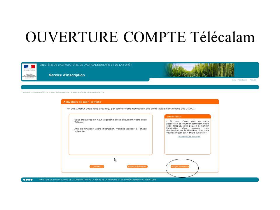 OUVERTURE COMPTE Télécalam
