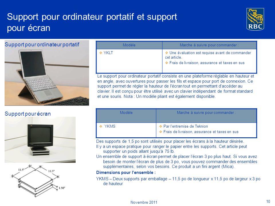 Support pour ordinateur portatif et support pour écran