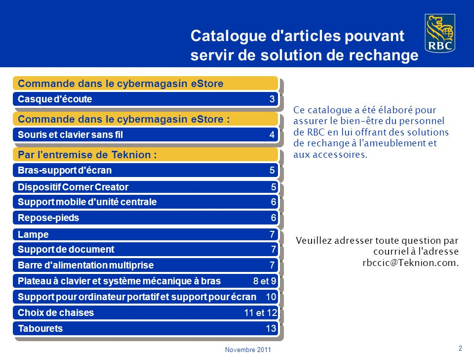 Catalogue d articles pouvant servir de solution de rechange