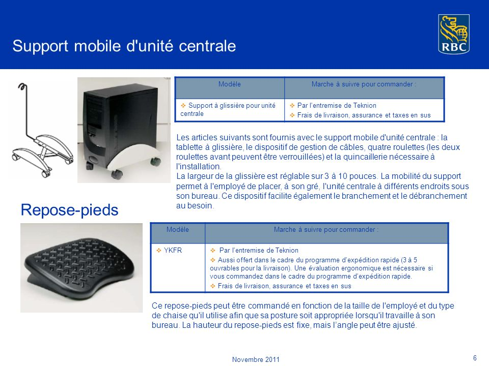 Support mobile d unité centrale