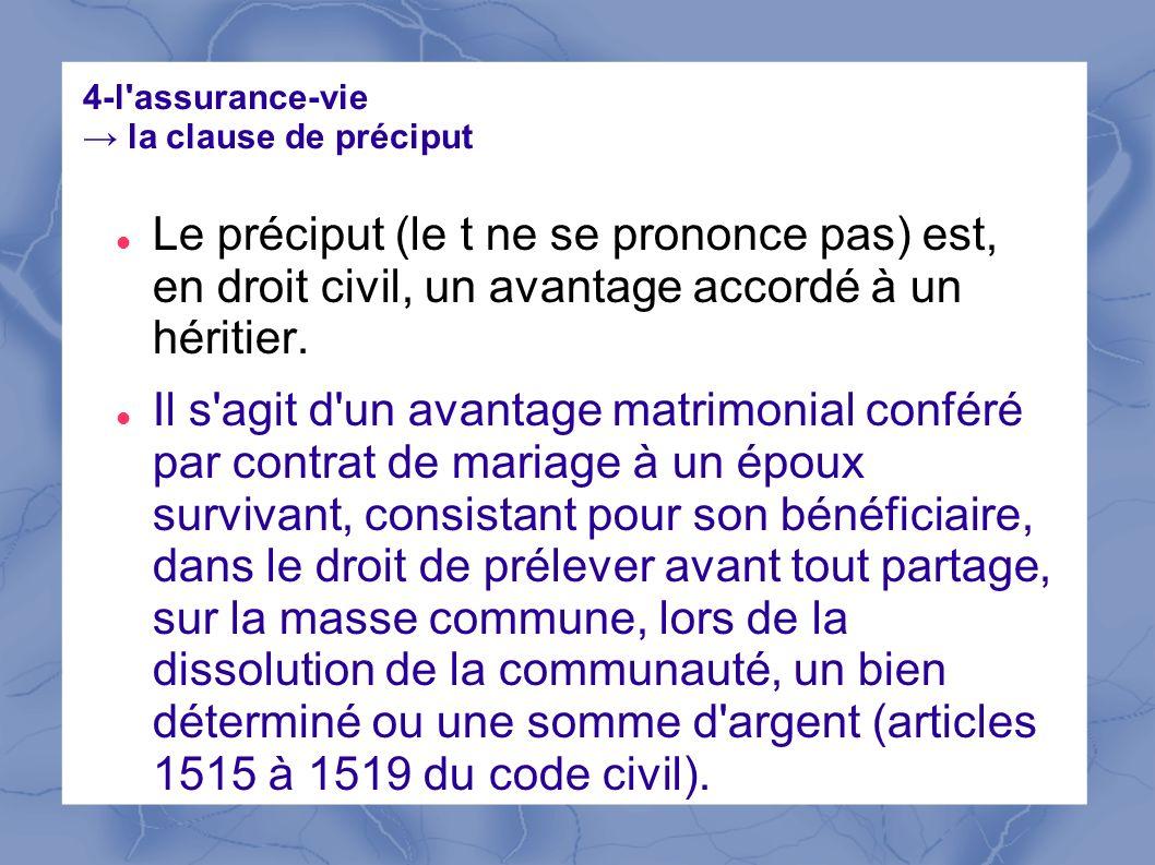 4-l assurance-vie → la clause de préciput