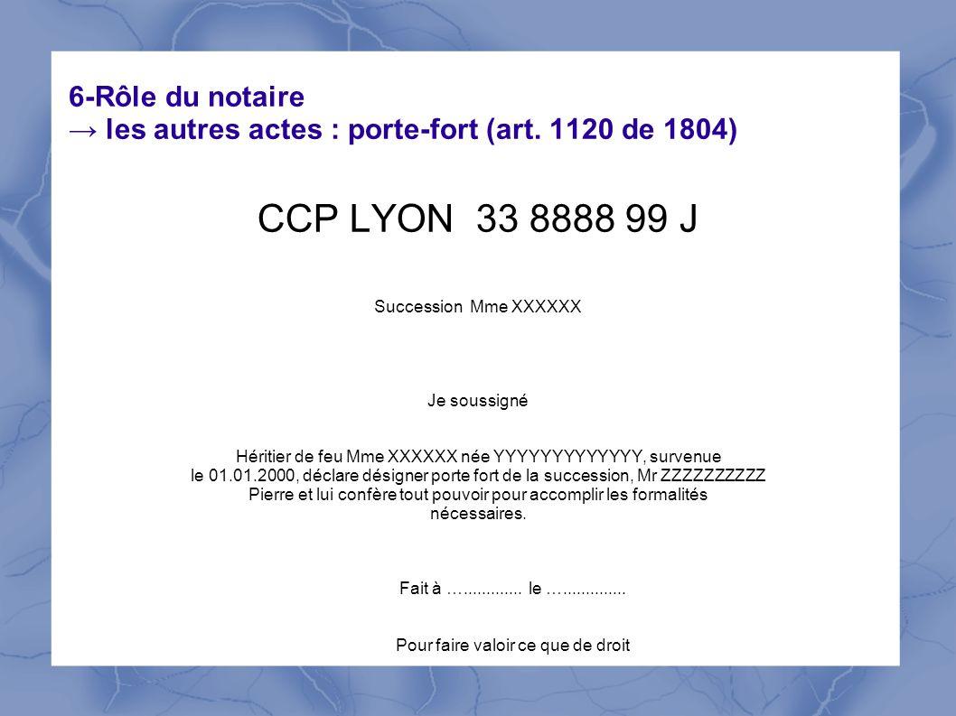6-Rôle du notaire → les autres actes : porte-fort (art. 1120 de 1804)