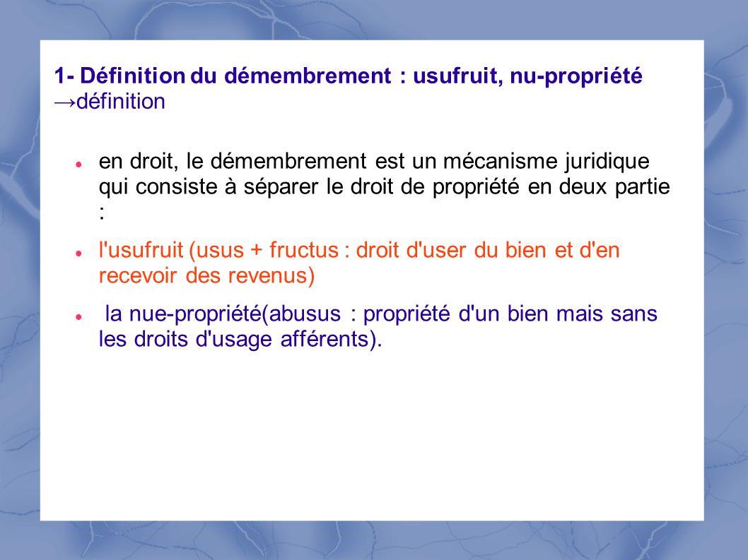 1- Définition du démembrement : usufruit, nu-propriété →définition