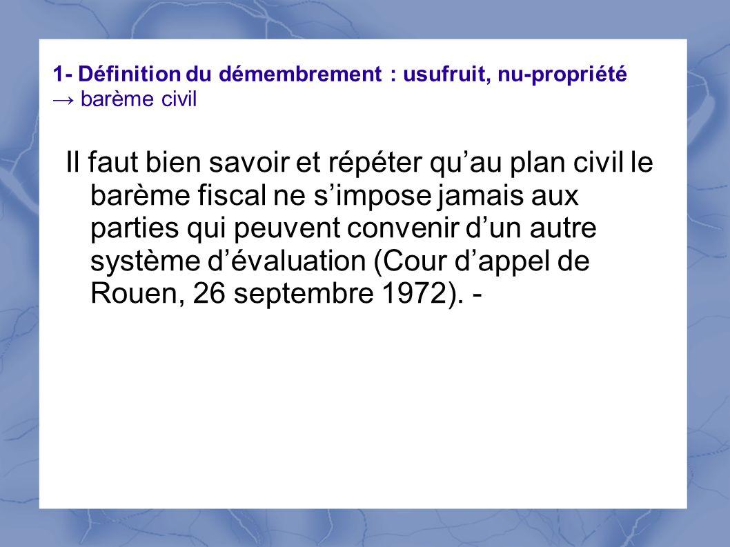 1- Définition du démembrement : usufruit, nu-propriété → barème civil