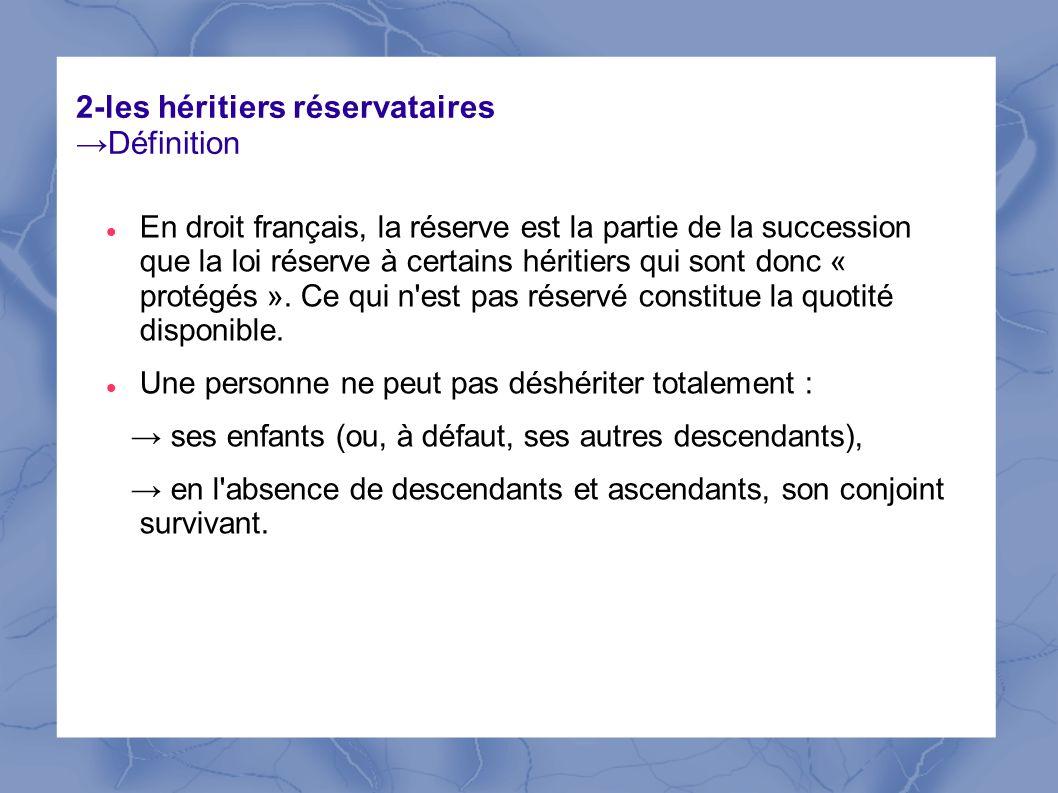 2-les héritiers réservataires →Définition