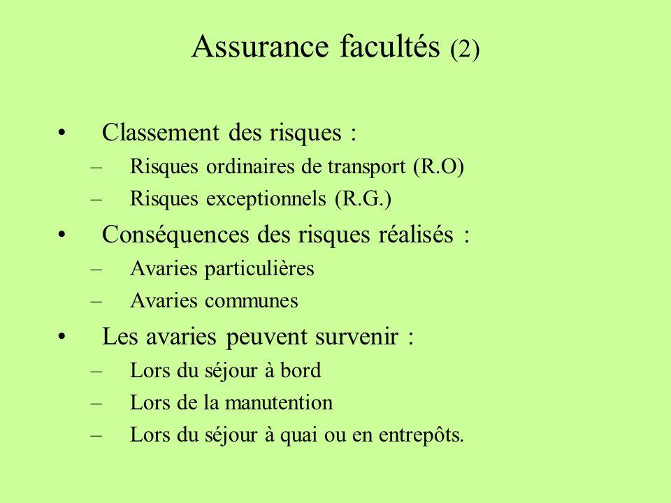 Assurance facultés (2) Classement des risques :