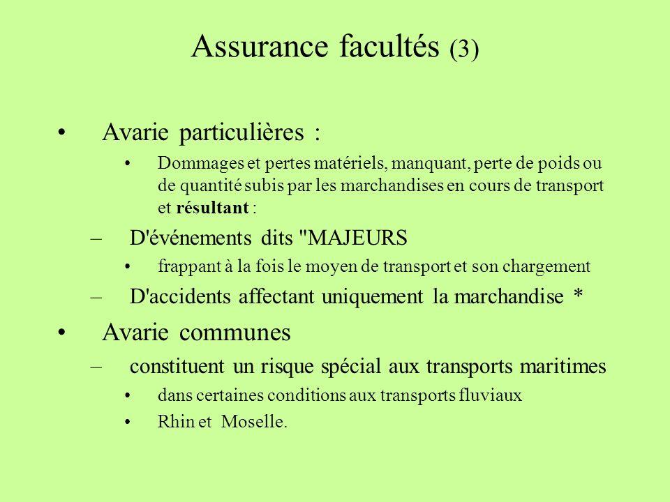 Assurance facultés (3) Avarie particulières : Avarie communes