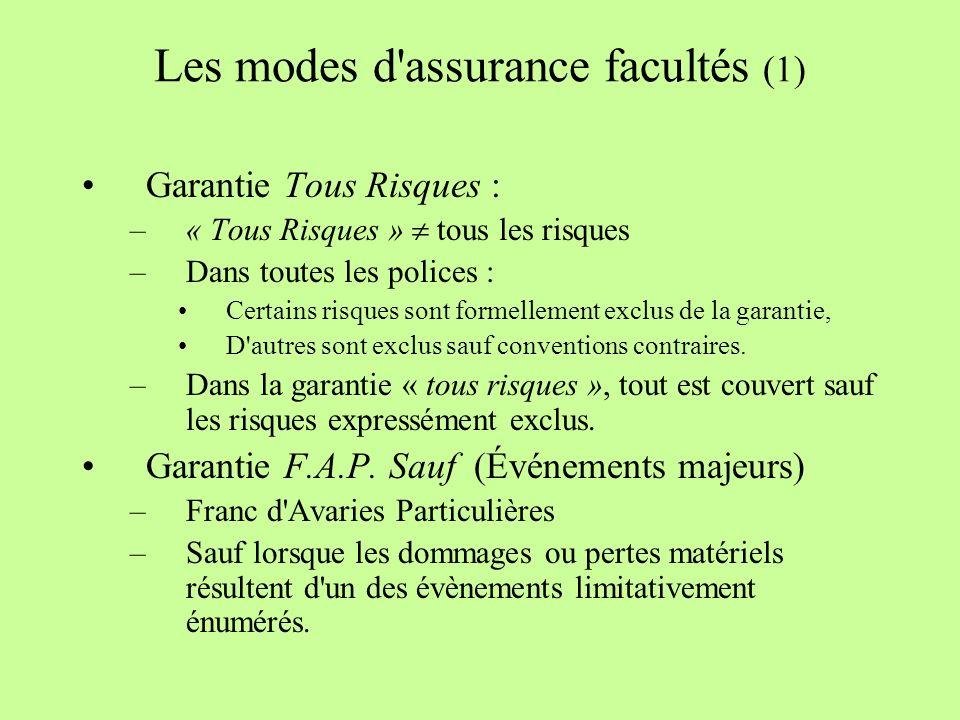 Les modes d assurance facultés (1)