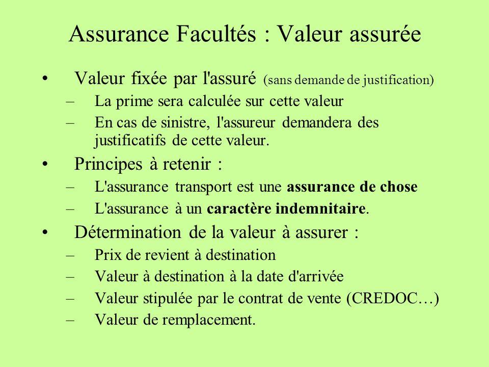 Assurance Facultés : Valeur assurée