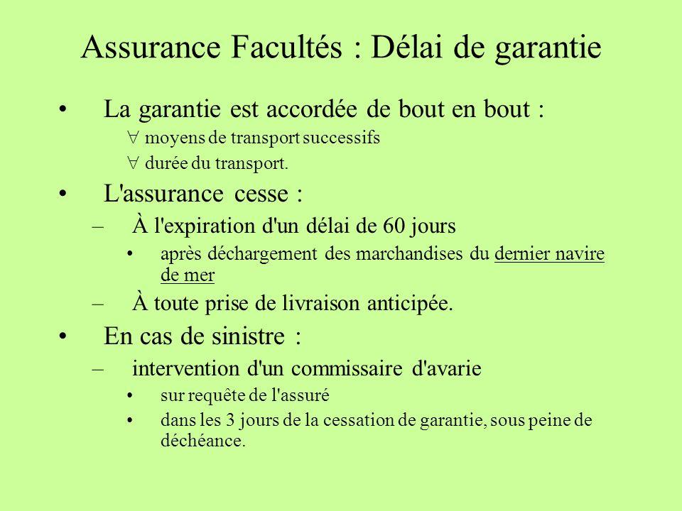 Assurance Facultés : Délai de garantie