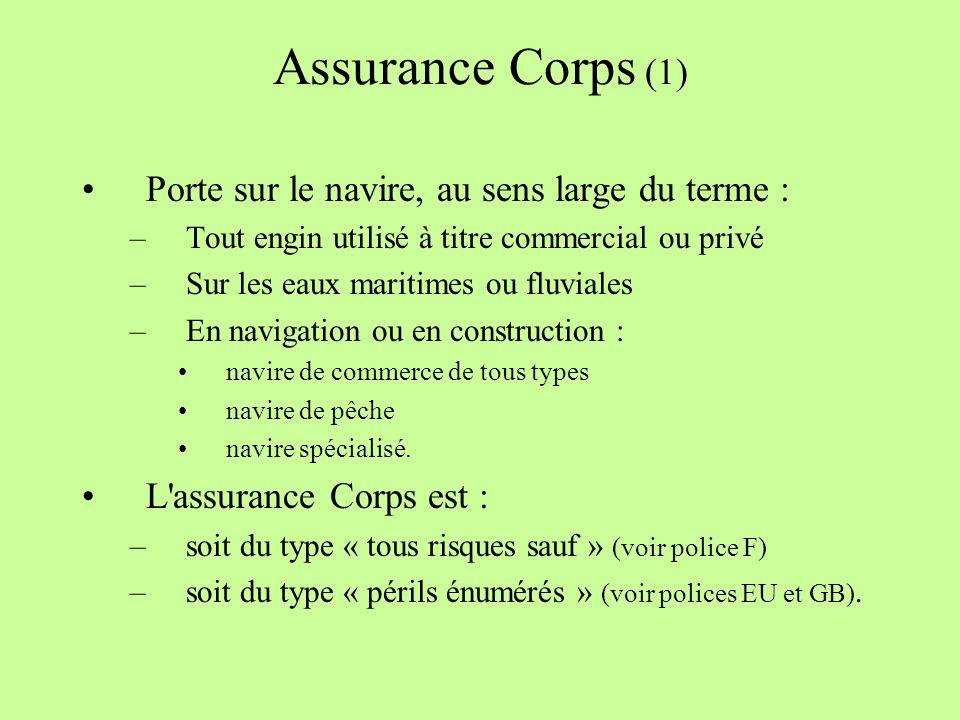 Assurance Corps (1) Porte sur le navire, au sens large du terme :