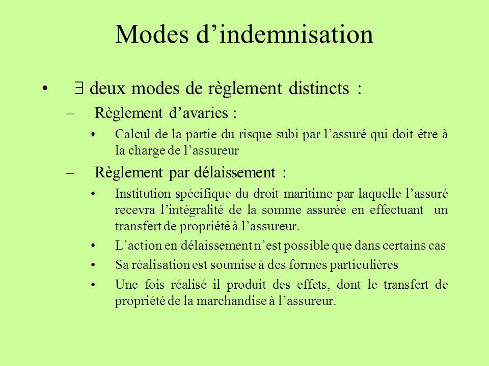 Modes d'indemnisation