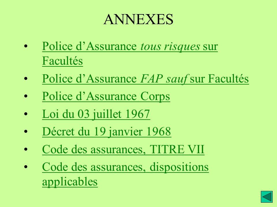 ANNEXES Police d'Assurance tous risques sur Facultés