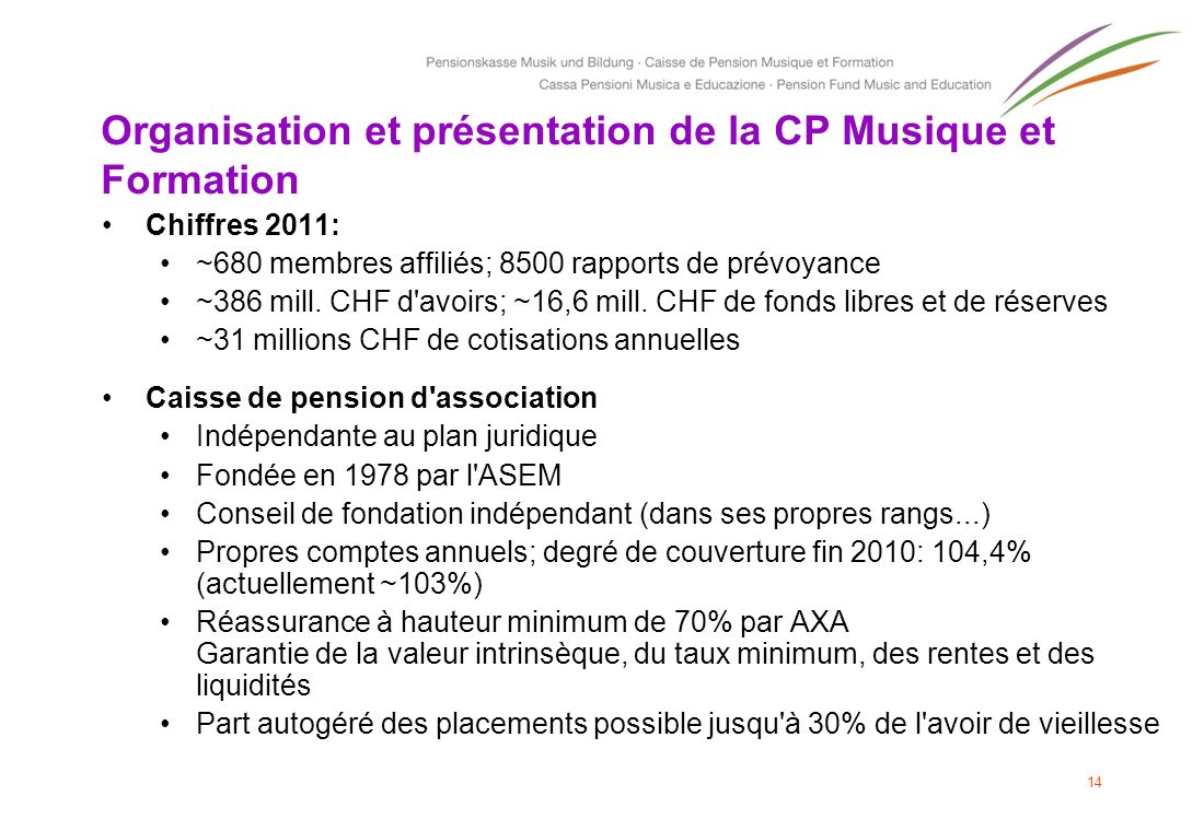 Organisation et présentation de la CP Musique et Formation