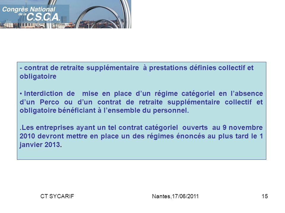 - contrat de retraite supplémentaire à prestations définies collectif et obligatoire