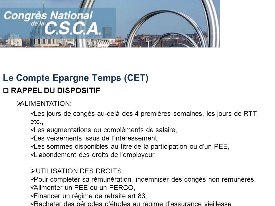 Le Compte Epargne Temps (CET)