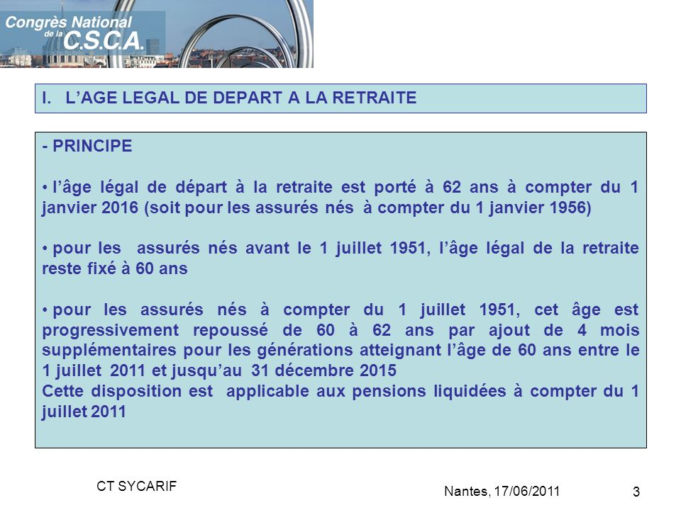 I. L'AGE LEGAL DE DEPART A LA RETRAITE