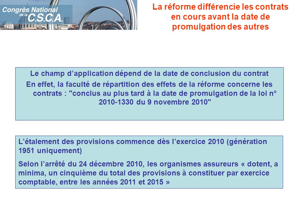Le champ d'application dépend de la date de conclusion du contrat