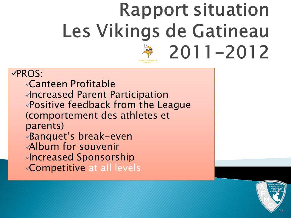 Rapport situation Les Vikings de Gatineau 2011-2012