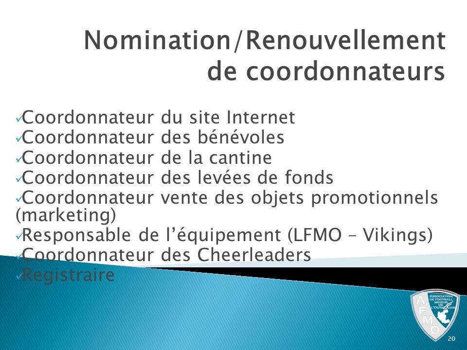 Nomination/Renouvellement de coordonnateurs