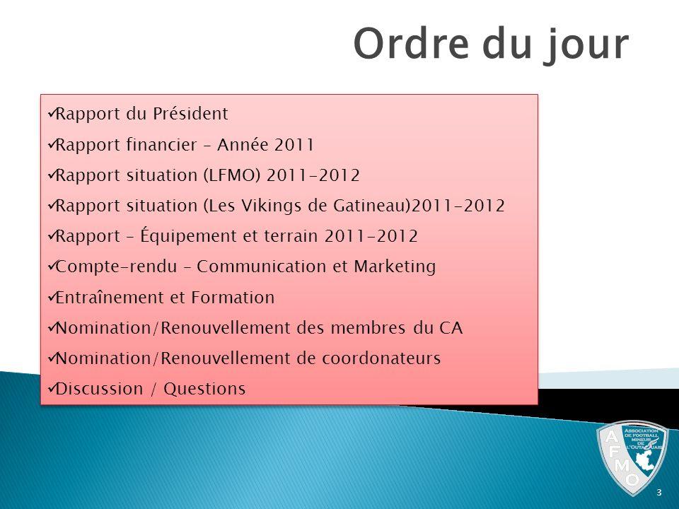 Ordre du jour Rapport du Président Rapport financier – Année 2011