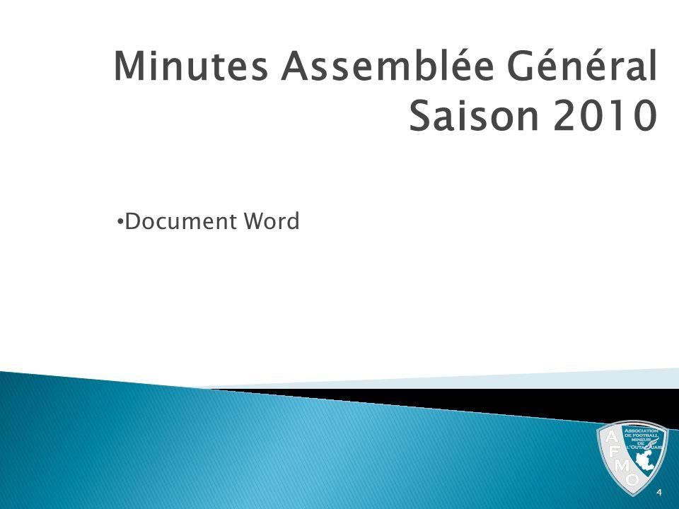 Minutes Assemblée Général Saison 2010