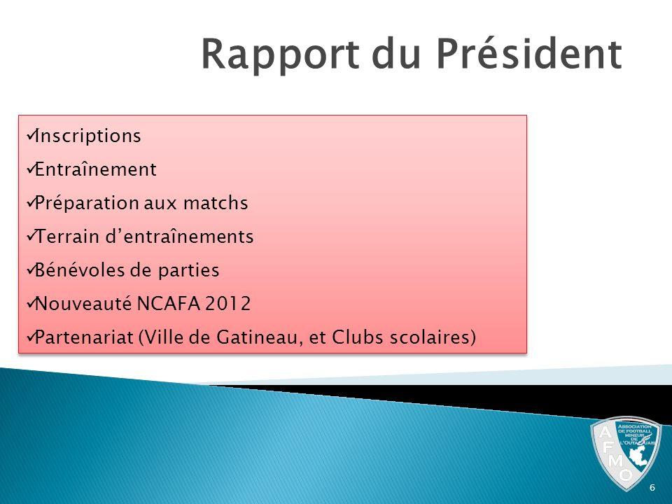 Rapport du Président Inscriptions Entraînement Préparation aux matchs