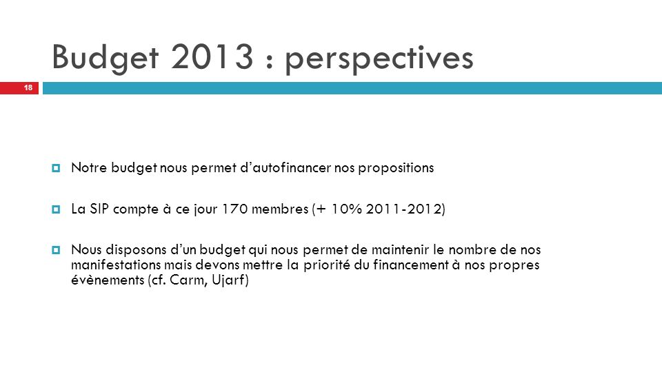 Budget 2013 : perspectives Notre budget nous permet d'autofinancer nos propositions. La SIP compte à ce jour 170 membres (+ 10% 2011-2012)